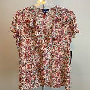 Chaps Floral Button-Down Blouse NWT, 8